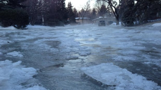 A water main break in the community of Lakeview created a quickly-freezing river on Longridge Drive S.W. early Wednesday.