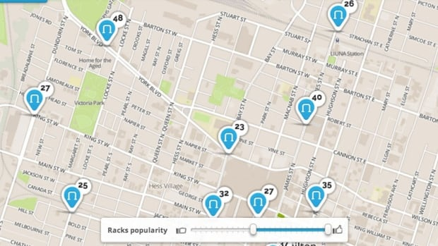 Some of the most requested stations for Hamilton's bike share program are clustered around downtown Hamilton.