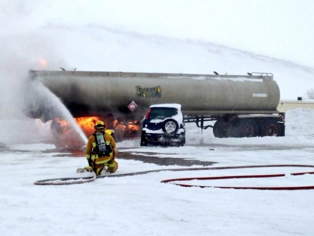 Firefighters in Regina practise fighting tanker fires