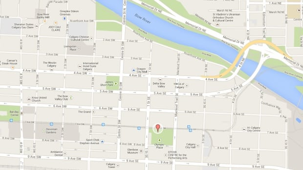 Calgary police are looking for a suspect after a man was stabbed in Olympic Plaza on Thursday.