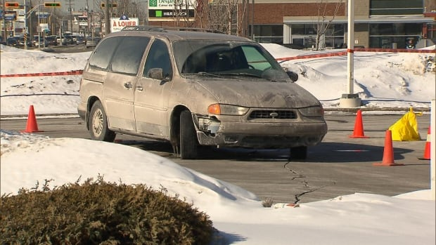 Laval police are trying to find out how this minivan hit a pedestrian and dragged him for several metres.