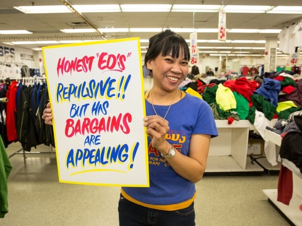 Rosalie Aguado at Honest Ed's sign sale