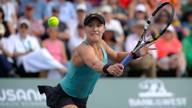 Eugenie Bouchard, of Canada, returns a volley against Peng Shuai, of China, during a second-round match at the BNP Paribas Open tennis tournament on Friday.