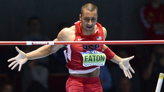 American Ashton Eaton competes in the men's heptathlonpole vault at the IAAF World Indoor Athletics Championships in Sopot, Poland on Friday.