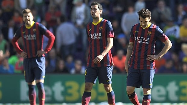 Barcelona players react after Real Valladolid scored at estadio Nuevo Jose Zorillo on March 8, 2014 in Valladolid, Spain.