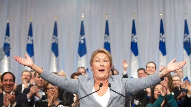 Parti Québécois leader Pauline Marois speaks to party delegates during a general council meeting in Laval on Saturday.