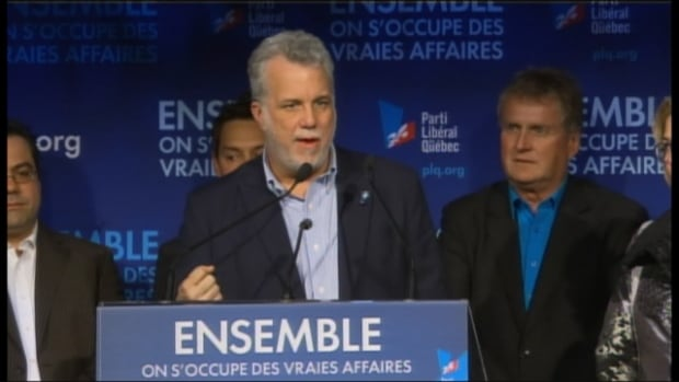Philippe Couillard brought his election campaign to his home riding of Roberval on Sunday.