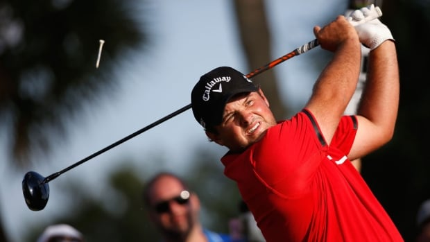 Patrick Reed hits his tee shot on the 14th hole during the final round of the World Golf Championships-Cadillac Championship at Trump National Doral on Sunday in Doral, Fla.