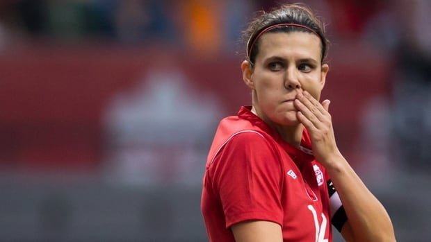 Christine Sinclair, shown in this file photo, couldn't spark her team to a win on Monday as Canada fell 2-0 to England in Cyprus.
