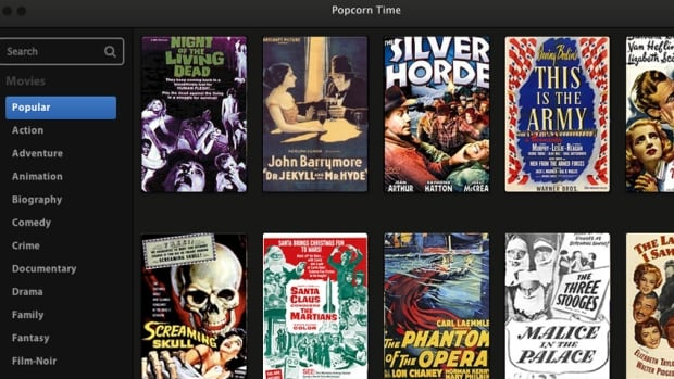 The streaming site Popcorn Time appears to only provide access to old public-domain films, but it also contains pirated editions of recent films such as 12 Years a Slave and American Hustle.