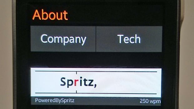 Spritz's speedreading app streams text at a rate of up to 1,000 words per minute in a small display called a 'redicle.'