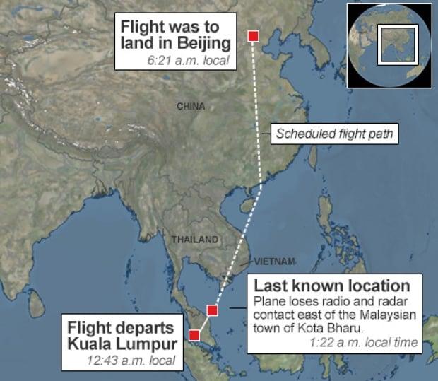 Flight MH370 flight path