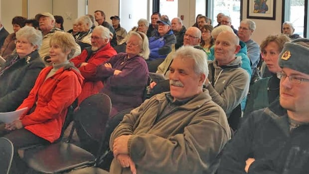 More than 100 people attended the Tuesday night meeting at the Mary JL Black Library to discuss the proposed Thunder Bay events centre.