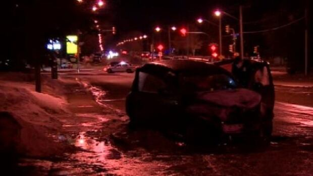 Aftermath of a west-side police chase.