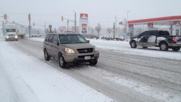 A winter storm battered Windsor on Wednesday, cancelling flights and closing highways.