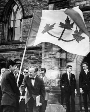 Lester B Pearson's maple leaf flag 1964