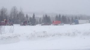 An accident on the Trans-Canada Highway has closed a 38-kilometre stretch of the eastbound lanes