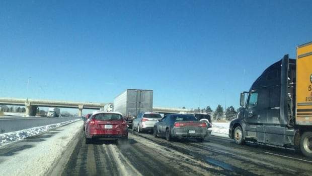 Road conditions and lane closures halted traffic on the QEW this morning.