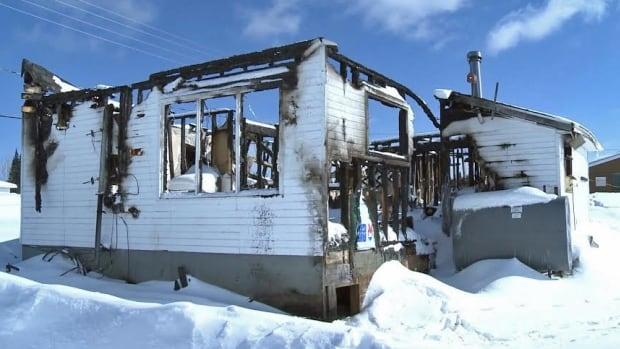 The chief of Mishkeegogamang First Nation sought a coroner's inquest to expose inadequate funding for fire protection and housing after a fire in this house killed four people in February 2014.