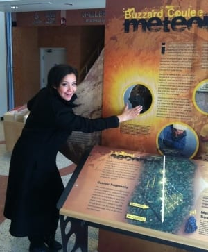Geraldine Carriere checks out meteorite