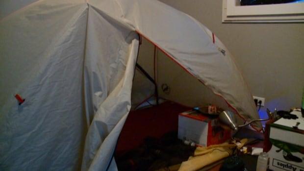 Homeless Jeremy Martin's tent