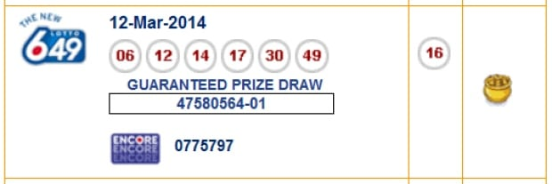 winning lotto 649 ticket