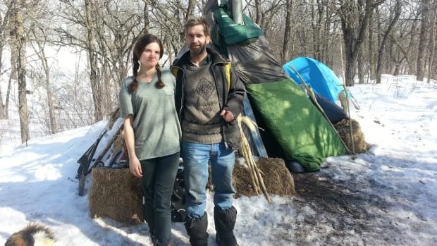 Ciara Latendresse and Bill Price have set up their tipi in a wooded valley near Portage la Prairie.