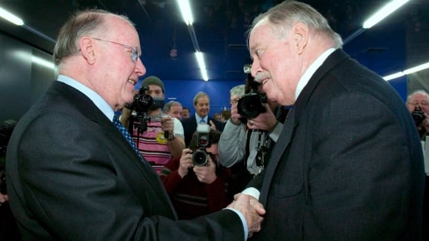 Former Quebec premier Bernard Landry (left), with one of his predecessors, Jacques Parizeau, says Prime Minister Stephen Harper's policies are helping the sovereignty movement in Quebec.