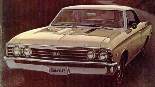 A 1967 Chevrolet Chevelle Malibu is shown in this vintage ad.