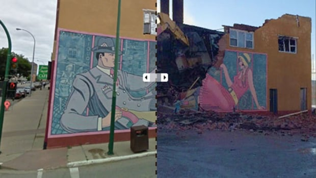 Before and after: A mural in Moose Jaw was lost to fire.