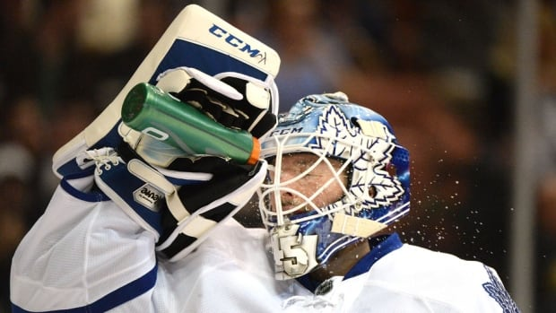 Jonathan Bernier left the Leafs game against the Los Angeles Kings Thursday with a lower-body injury.
