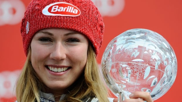 American Mikaela Shiffrin takes first place and wins the overall slalom World Cup globe during the Audi FIS alpine Ski World Cup women's slalom finals on Saturday in Lenzerheide, Switzerland.