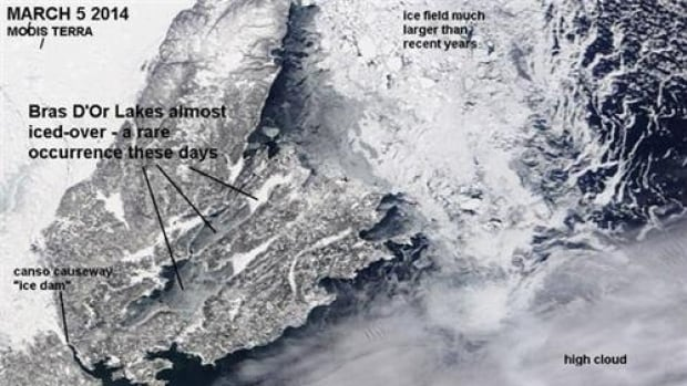 The Bras d'Or Lakes are frozen for the first time in decades, causing an ice backup into the nearby river.