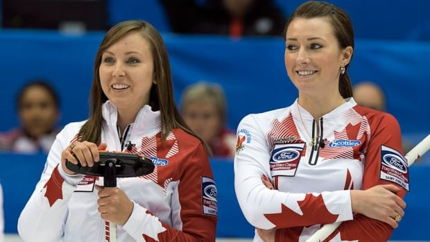 Canada skip Rachel Homan, left, and third Emma Miskew look on as they play Russia at the World Women's Curling Championships in Saint John, N.B. on Saturday