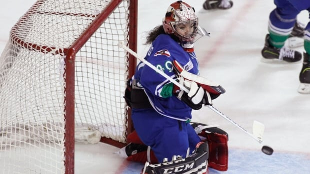 Columbus Cottonmouths goaltender Shannon Szabados made 27 stops in a loss on Saturday in her men's hockey professional debut.