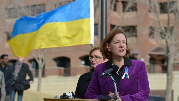 On Sunday, Alberta Premier Alison Redford announced the government will raise the Ukrainian flag at the legislature for a week in support of the people of that country.
