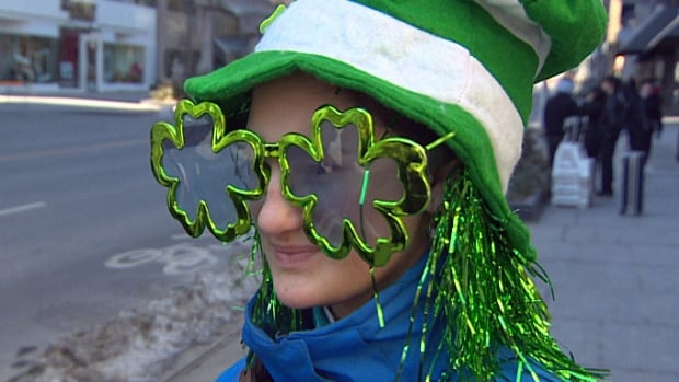 The shamrock-shaped glasses shown in the image above were just one example of the costumes that revellers were wearing at the St. Patrick's Day parade in Toronto on Sunday.