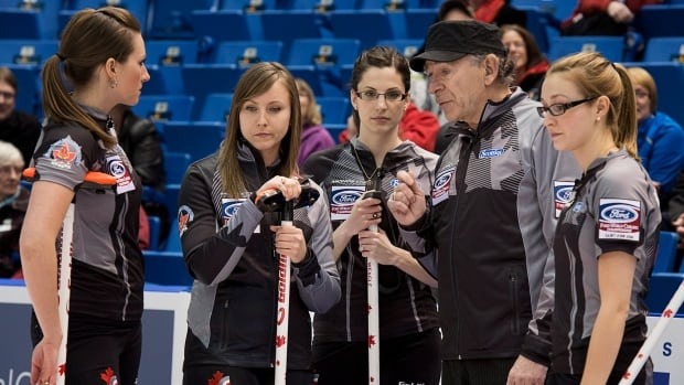 Left to right, Canada's Emma Miskew, Rachel Homan, Alison Kreviazuk, coach Earle Morris and Lisa Weagle during a timeout in Saint John, N.B. on Sunday, March 16, 2014.