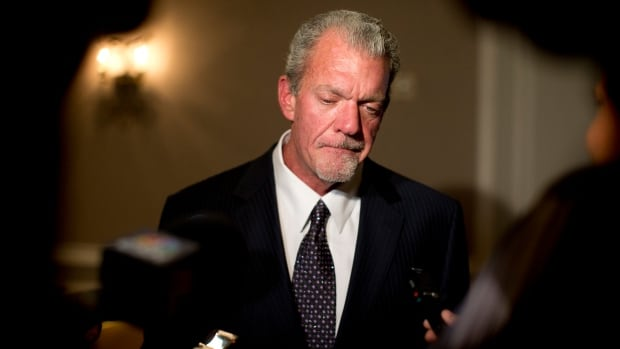 Indianapolis Colts owner Jim Irsay pauses as he speaks to reporters on Oct. 8, 2013 after a series of NFL meetings.