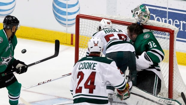 Minnesota Wild left wing Erik Haula injured Dallas Stars goalie Kari Lehtonen on this play on March 8.