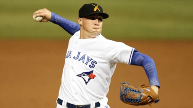 "Pitcher Aaron Sanchez is satisfied with his performance so far at his first major league spring training camp with the Blue Jays. ""My biggest thing is fastball command and just attacking hitters. I felt like my last three outings I've done that really well."""
