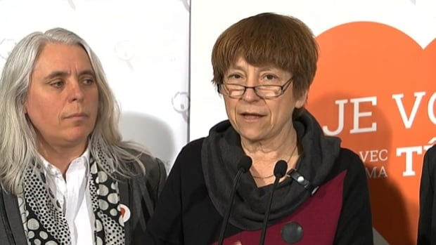 Québec Solidiare co-spokesperson Françoise David (right) says the province's reliance on oil poses serious economic and ecological risks.