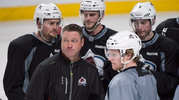 Colorado Avalanche head coach Patrick Roy leads a practice at the Bell Centre on Monday.