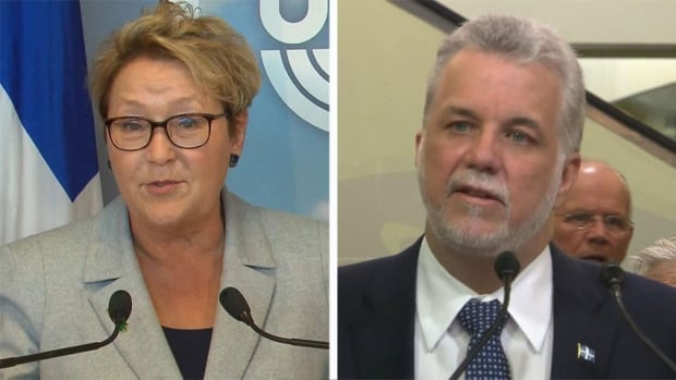 PQ Leader Pauline Marois and Liberal Leader Philippe Couillard were campaigning in Laval on the same day.