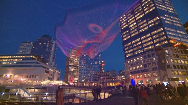 Janet Echelman's sculpture 'Skies Painted with Unnumbered Sparks' has been installed outside the Vancouver Convention Centre for the TED2014 conference this week. Echelman worked with Google Creative Lab's Aaron Koblin to make the sculpture come alive with illumination at night — illumination that is partly-controlled by members of the public through their mobile devices.