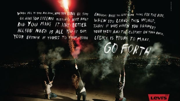 "Levi's Go Forth marketing campaign ran internationally with the tagline, ""Now is our time."""