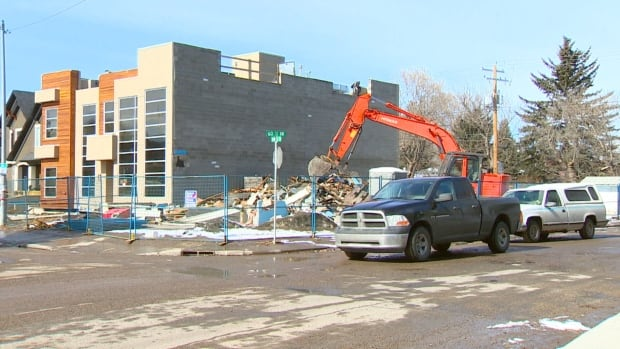 A pile of rubble is all that remains of Mary's Corner Store in Bowness.