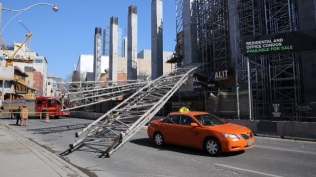 Four storeys of scaffolding fell in downtown Toronto on Tuesday afternoon.
