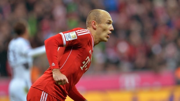 Bayern's Arjen Robben of the Netherlands celebrates after scoring in a March 1 match.