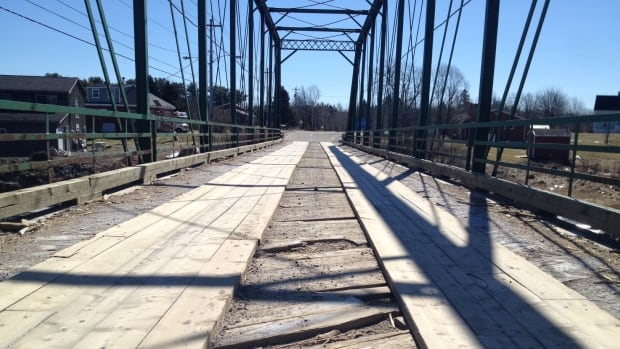 The wooden base of this one-way bridge in Lantz is so damaged planks have been nailed down as a temporary fix.